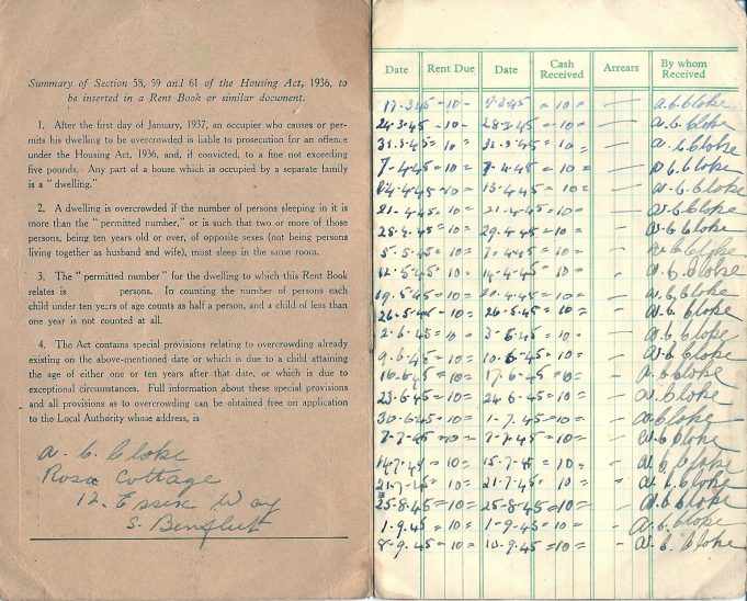 Rent book showing weekly payments of 10 shillings in 1945 | Jill Ashdown