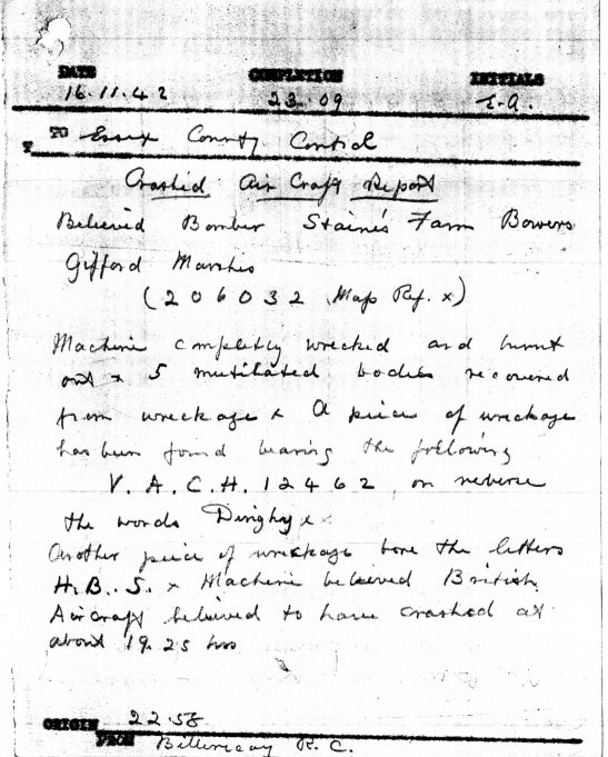 Initial Air Raid Warden's report | Essex County Archives