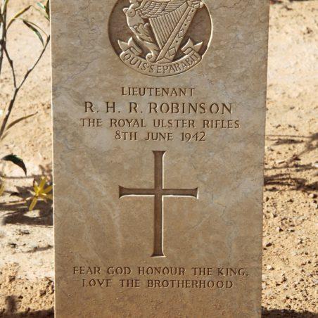 Grave of Ralf Hubert Reginald Robinson. | Copyright.  The War Graves Photographic Project.