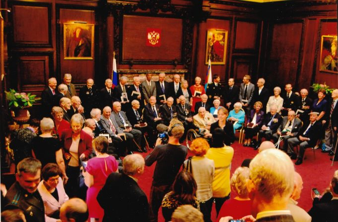 British veterans at the Russian Embassy on 28th August 2014 | Mr Joyce's son