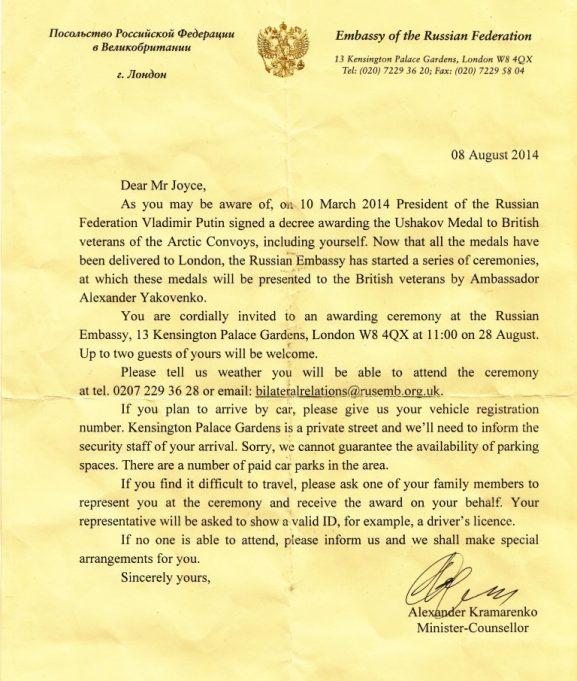 Award of a Ushakov Medal to Mr Joyce. | Russian Embassy
