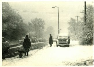 Snow arrives - Bread & Cheese Hill - possibly the winter of 1963 | Harry Emery