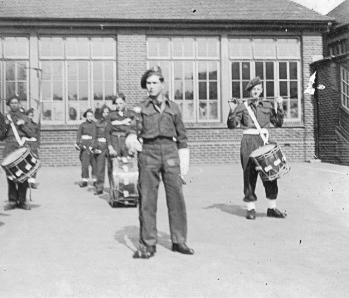 The Army cadets at band practice. | From the family collection
