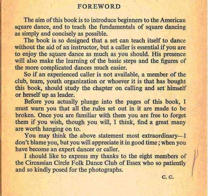 Foreword in the book Square Dance Manual. With acknowledgement to the Circassian Circle Folk Dance Club | From the collection of Joan English nee Phillips
