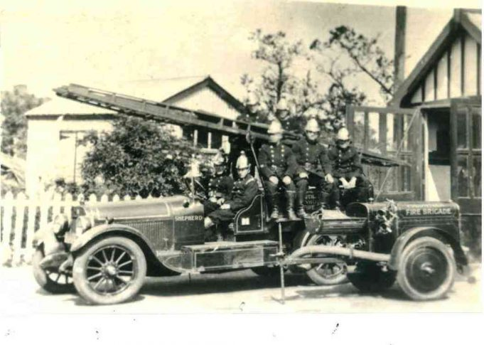 The Shepherd engine sits outside the Fire Station in Essex Way, formerly Endway. My father Cyril Downer is seated in the passenger seat of the engine. | John Downer