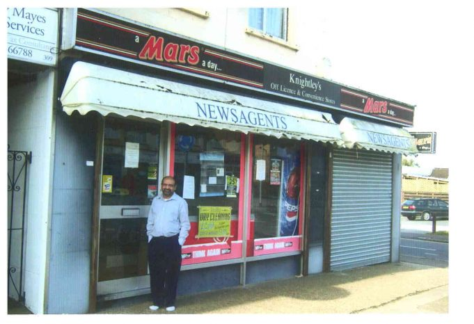 311 High Road. After 22 years in these premises - formerly Croisette's then Knightley's -Mr Patel stands outside his business on the day of closing - 14th April 2012 | John Downer