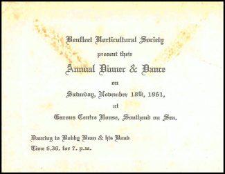 Annual Dinner & Dance Invite, November 1961 | Benfleet Horticultural Society