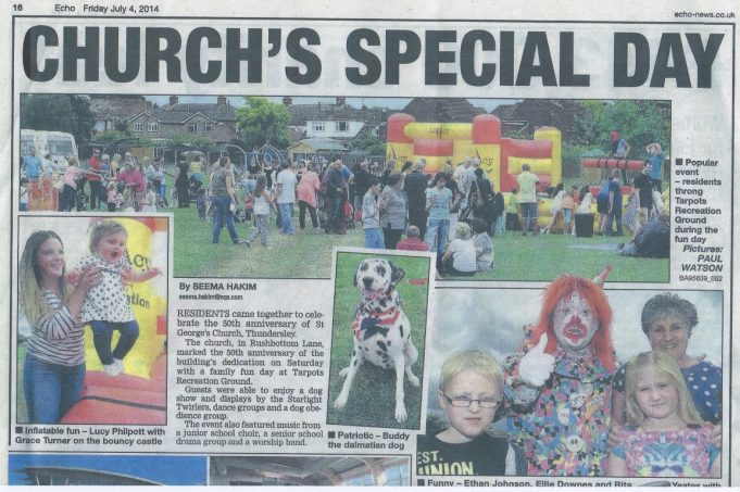 Echo Newspaper report 4th July 2014 re St George's celebration.  Great fun was had by all at the St George's family fun day held at the Tarpots Recreation Ground.  There was also a display detailing the history of the Church and the many activities the Church is involved with. | Echo newspapers