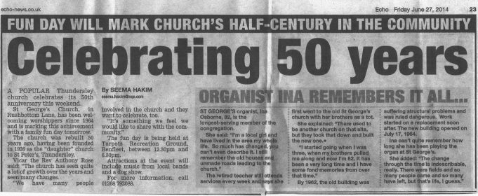 Echo Newspaper report 27th June 2014 re St George's celebration. A 50th Anniversary Service was held on 6th July 2014. | Echo newspapers