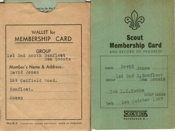 David Jones' Sea Scout Membership Card | Stephen Jones