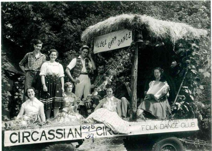 Southend Carnival Procession -  (1st prize)  Joan Phillips playing the accordion. | From the collection of Joan English nee Phillips