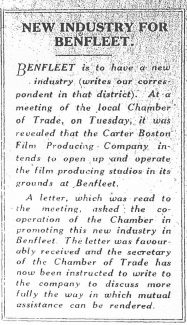 Report of letter to the Benfleet Chamber of Trade | The Southend Times 5th October 1928