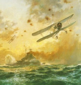HMS Ark Royal's Swordfish strike Bismark in 1941.  Detail from a painting by Alan Fearnley displayed as part of the Fleet Air Arm Museum Collection. | Front cover of 'Swordfish at war' with the permission of publishers Ian Allan Printing Ltd Surrey