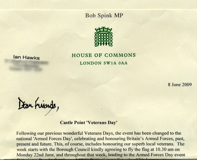 Letter advising the change from Veterans Day to Armed Forces Day | Dr Spinks MP