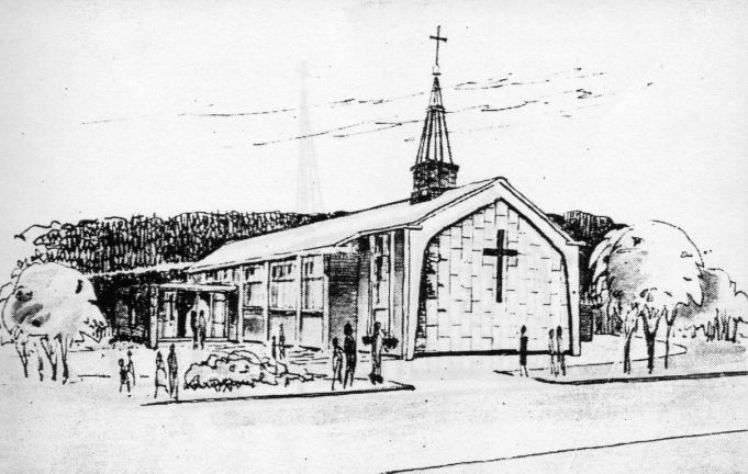 Line drawing of the new St George's Church. | Barbara Evans