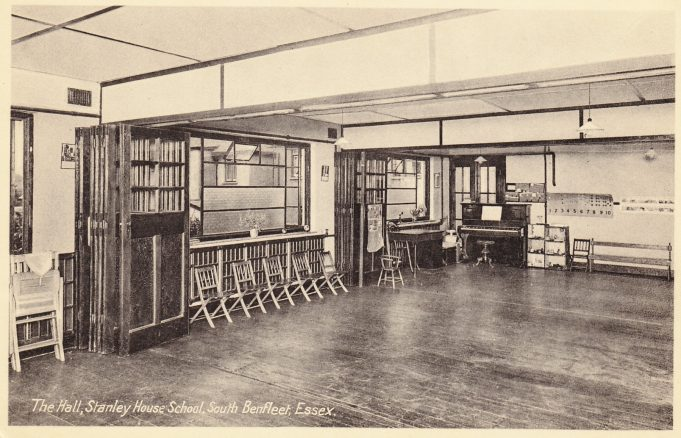 Postcard 2: The Hall -  Note the two sets of full width bi-fold doors allowing the hall to be partitioned. c. mid 1930s | Peter Gillard