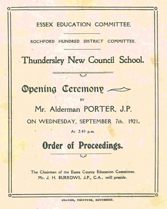 Order of Proceedings for the Opening Ceremony | Thundersley School