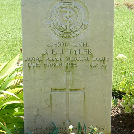 Grave of B. E. J. Tyler. | Copyright.  The War Graves Photographic Project.