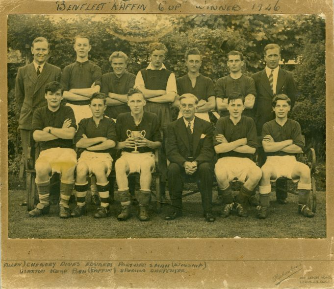 Benfleet Raffin Cup Winners 1946 Back row, left to right: W J Allen (trainer coach). Chenery, Dines, Edwards, Partner, Smith, Winship (on committee). Front row, left to right:Claxton, Kemp, Pugh, Raffin (President), Spurling, Carpenter. | Betty and Kenneth Cockburn