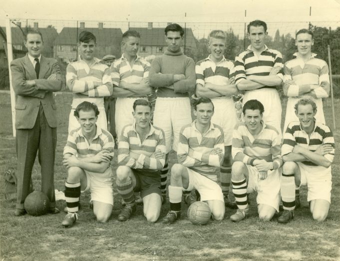 Team Photo date unknown Two of the players are: Front row first left Ron Carpenter and front row fourth from left Jim Spurling. The goalie may be ? Castle. | Betty and Kenneth Cockburn