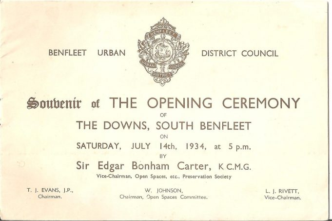 The official programme for the opening ceremony of The Downs in 1934 | Ian Johnson