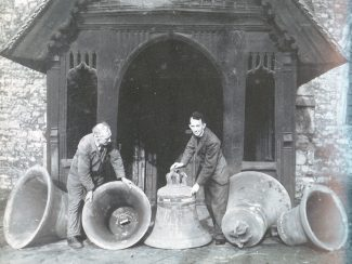Reverend Reginald Leighton Houghton inspects the church bells. | From Bygone Benfleet by Norman Chisman