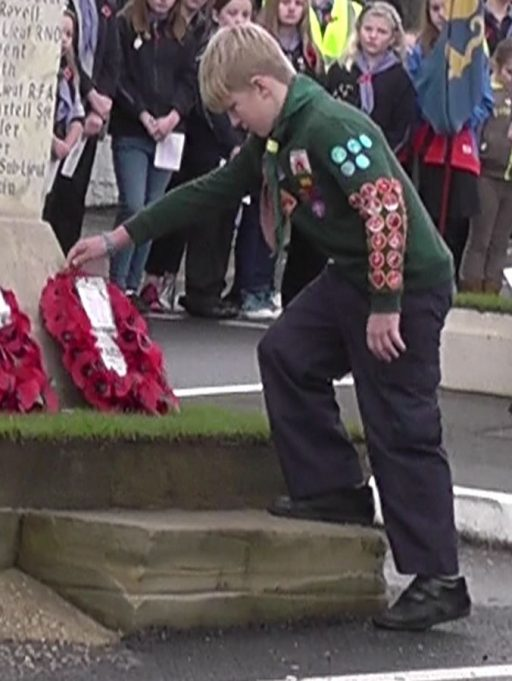 The 4th Thundersley Scout Group lay a wreath | Christine Coley