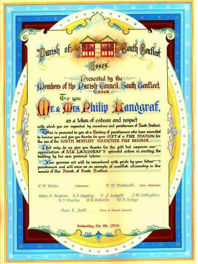 Presentation document presented to Mr & Mrs Philip Landgraf | Norris, 34 King Street, Cheapside E.C.2  Thanks to Castle Point Council