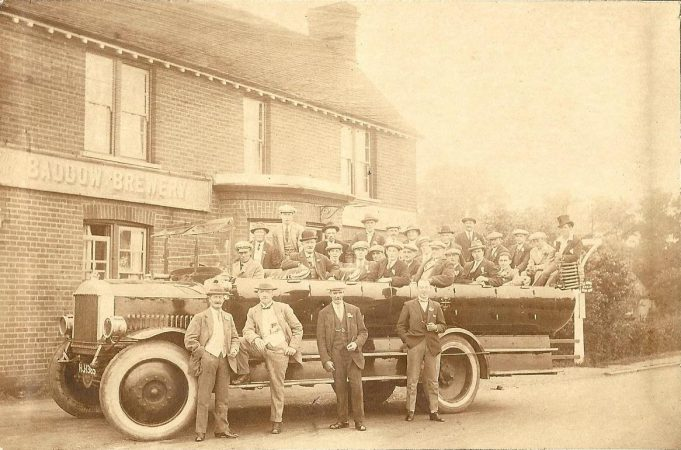 Frank Bardell with work colleagues outside the White Hart Public House before they set off on a works outing date unknown. | Bertie Bardell