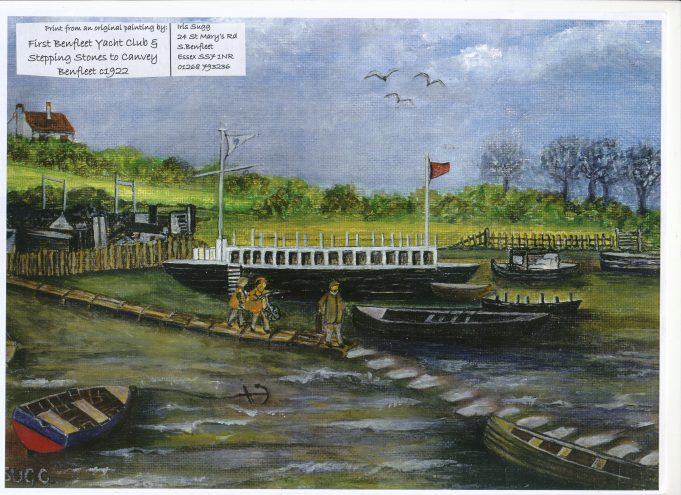 The original Benfleet Yacht Club and the stepping stones to Canvey (c. 1922) | Iris Sugg