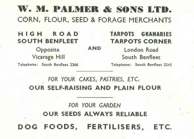 Advertisement for W.M. Palmer & Sons Ltd | B.U.D.C. booklet dated 1947