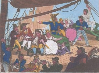 A scene on board a Margate Hoy   -   a caricature by Thomas John Dibdin 1804