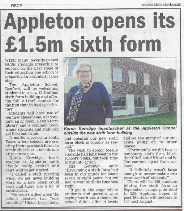 Appleton School Opens New 6th Form | Southend Standard Newspaper