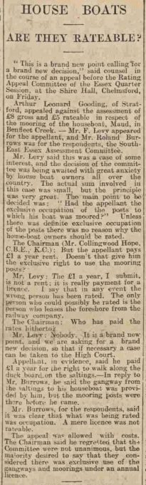 Taken from the Essex Chronicle, Friday March 4 1932.