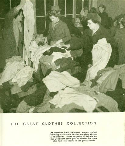 'At Benfleet School local volunteer women collect clothing of all kinds for the homeless victims of the floods.
