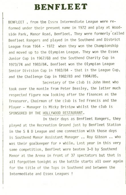 History of the Football club from the Programme