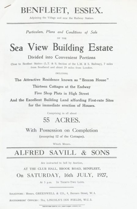 Sea View sales advert