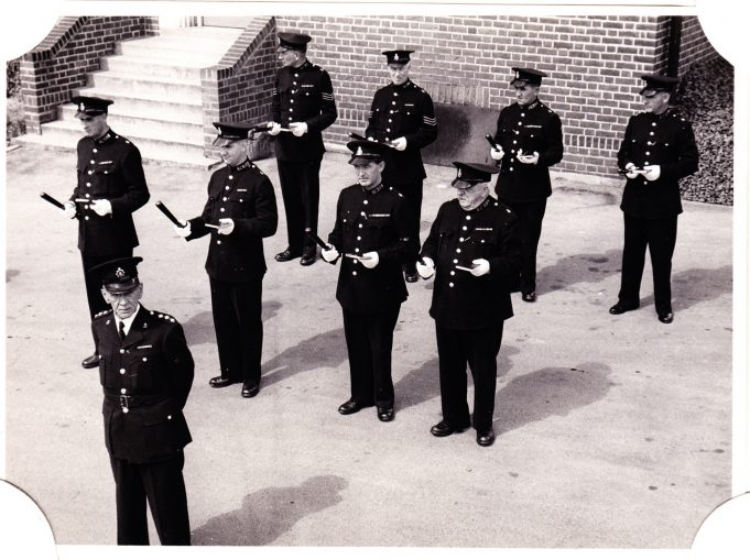 Special constables from Benfleet on parade at Brentwood police station, awaiting inspection.  Pc Pithers is on the far right in the center row. | Edgar John Davis