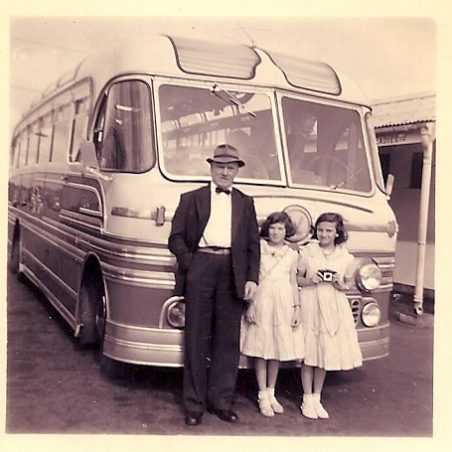 Doreen with her sister and father setting off on holiday.  Sometimes we went by coach via Maldon and the journey would take all day. | Doreen Colvin (Nee Batchford)