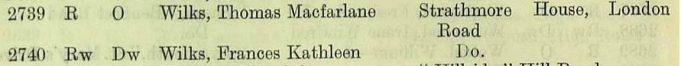 Extract from 1929 Electoral register for South Eastern Division.