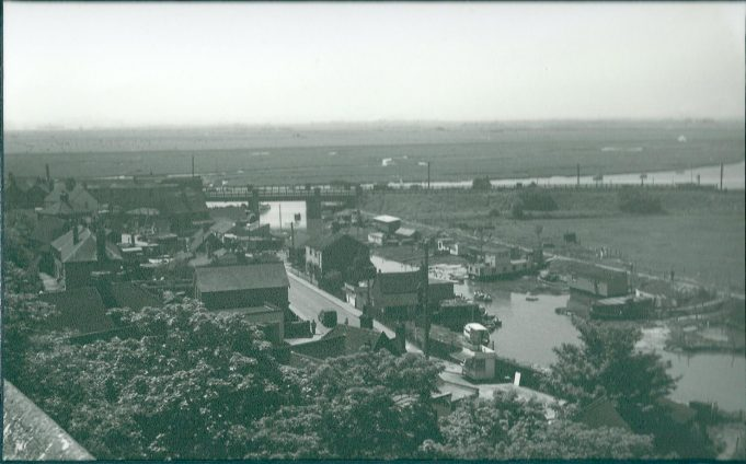 Church Creek taken from the top of Benfleet Church 1951 before the creek was closed with a sluice, the rail crossing of the creek can clearly be seen in the distance. | Gilbert Wines