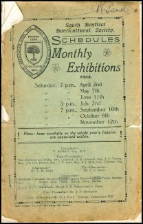 Front cover South Benfleet Horticultural Society Schedules, Monthly Exhibitions - dated 1932 | Benfleet Horticultural Society