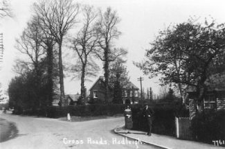 Four Wont Way or Cross Roads or Victoria House Corner? The house that is visible still stands in the Rayleigh Road. Hadleigh House was out of the photo, to the left. Date unknown