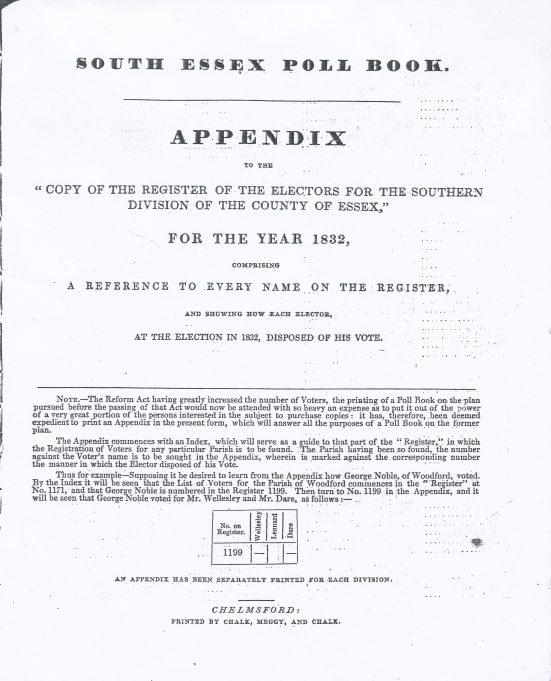 South Essex 1832 poll book