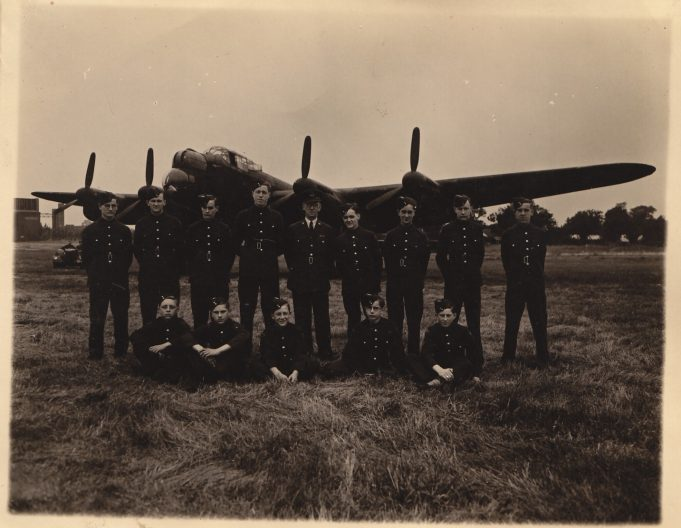 Benfleet ATC cadets at Waterbeach airfield in Cambridgeshire, 1944. George Faux standing fourth from right