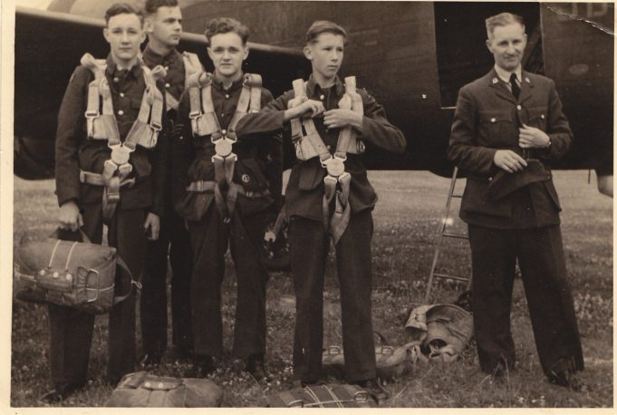 Benfleet ATC cadets about to board a bomber plane, 1944. George Faux third from the left