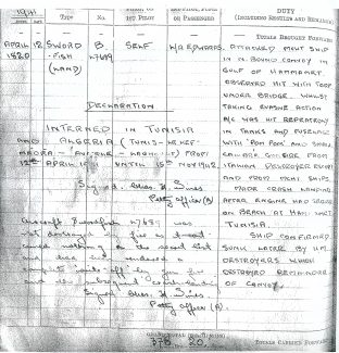 The flying log book of Petty Officer Charles Wines dated 12th April 1941, the day he was forced to make a crash landing on the beach at Hammamet, Tunisia, after attacking an enemy convoy with torpedoes. | Gilbert Wines