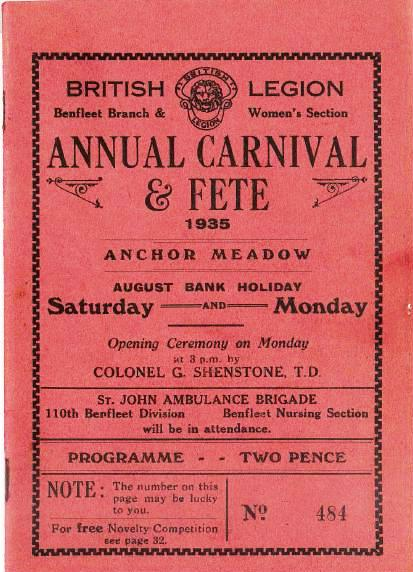 British Legion Annual Carnival & Fete programme 1935 | Printed by A.F. Naish & Son, Victory Printing Works, South Benfleet.   Thanks to John Downer