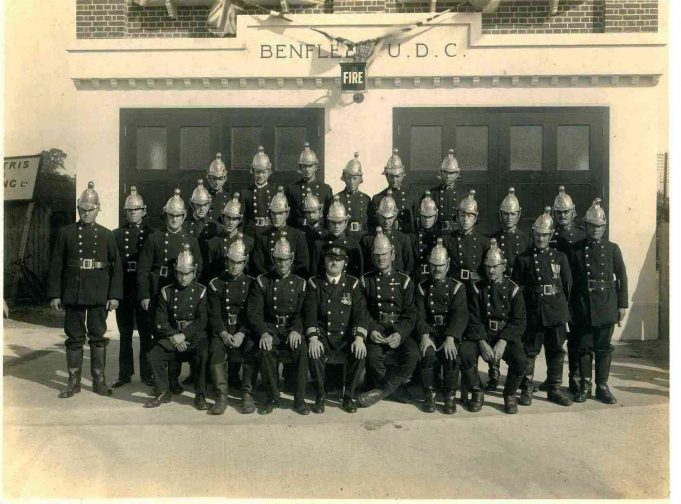 The exact year this photo was taken is not known but presumably it was just after the Hadleigh Fire Station opened.  My father is seated on the left of the picture. A gentleman, O I C Powell who ran the cafe in the High Street by the station, is sitting in the front row, third from left. | John Downer