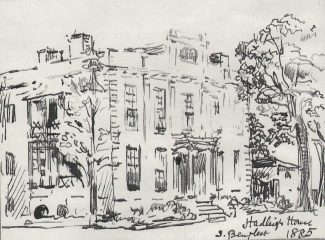 Sketch of Hadleigh House by Charles Archibald Nicholson c.1885
